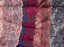 Различные виды материалов и текстур шнурка Стоковое Изображение