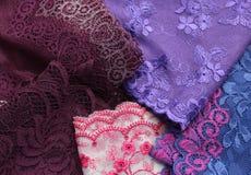 Различные виды материалов и текстур шнурка Стоковая Фотография RF
