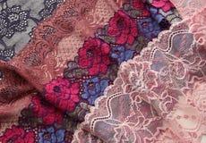 Различные виды материалов и текстур шнурка Стоковое Изображение RF