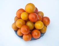 Различные виды томатов служили на белом блюде Стоковая Фотография