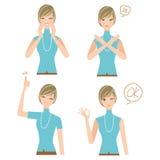 Различные выражения женщины Стоковые Изображения RF