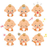 Различные выражения младенца Стоковое Изображение
