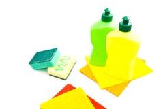 Различные губки, ветоши и бутылки Стоковое Фото