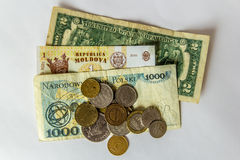 Различные деньги coutries на белой предпосылке Стоковая Фотография RF