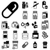 Различные изолированные значки опарников пилюльки или лекарства Стоковые Фотографии RF