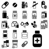 Различные изолированные значки опарников пилюльки или лекарства Стоковая Фотография RF