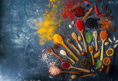 Различные индийские специи в деревянных ложках и шарах металла, семенах, травах и гайках, взгляд сверху Стоковая Фотография