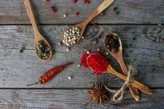 Различные индийские специи в деревянных ложках и шарах металла, семенах, травах и гайках Стоковая Фотография RF