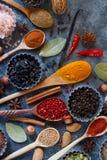 Различные индийские специи, гайки и травы в деревянных ложках и шарах металла Стоковые Фото