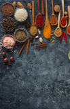 Различные индийские специи, гайки и травы в деревянных ложках и шарах металла Стоковое Изображение RF