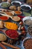 Различные индийские специи, гайки и травы в деревянных ложках и шарах металла Стоковые Изображения RF
