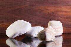 Различные камни на стеклянном столе Стоковые Фото