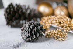 Различные конусы видов, украшения рождества и spruse разветвляют на деревянной предпосылке стоковое изображение