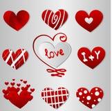 Различные красные сердца дня валентинок Стоковые Изображения