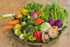 Различные красочные сырцовые овощи в корзине лист банана Стоковые Изображения