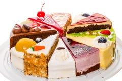 Различные куски пирога на белизне Стоковая Фотография RF