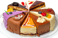 Различные куски пирога на плите Стоковое Фото