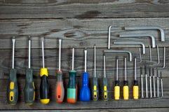 Различные ключи и отвертки Аллена Стоковые Изображения RF