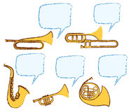 Различные музыкальные инструменты с речью пузыря иллюстрация вектора