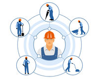 Различные обязанности построителей бесплатная иллюстрация