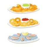 Различные обломоки закуски закусок канапе мяса устриц и закуски банкета на диске vector иллюстрация бесплатная иллюстрация