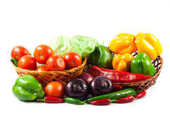Различные овощи изолированные на еде белой предпосылки здоровой Стоковая Фотография
