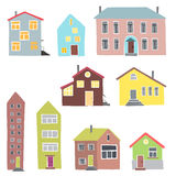 Различные дома на белой предпосылке Стоковое Изображение