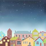 Различные дома на звёздной предпосылке неба Стоковое Изображение