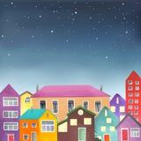 Различные дома на звёздной предпосылке неба Стоковое Фото