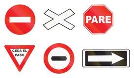 Различные дорожные знаки в Уругвае Стоковая Фотография