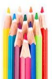 Различные покрашенные карандаши на белой предпосылке Стоковая Фотография