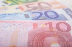 Различные примечания евро Стоковая Фотография
