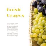 Различные разнообразия виноградин в плетеной корзине с предпосылкой белизны copyspace Стоковая Фотография