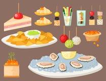 Различные рыбы закуски закусок канапе мяса и закуски банкета сыра на диске vector иллюстрация иллюстрация штока