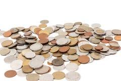 Различные старые европейские монетки на белизне стоковое фото