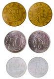 Различные старые итальянские монетки стоковые изображения rf