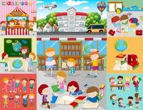 Различные сцены с детьми на школе иллюстрация штока