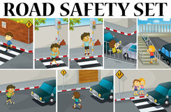 Различные сцены с обеспечением безопасности на дорогах бесплатная иллюстрация