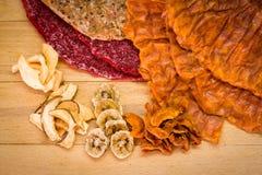 Различные типы высушенных плодоовощей и тортов плодоовощ Стоковые Фото