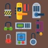 Различные установленные значки замка дома vector элемент уединения пароля безопасности с ключом и padlock, безопасностью защиты иллюстрация вектора
