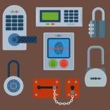 Различные установленные значки замка дома vector элемент уединения пароля безопасности с ключом и padlock, безопасностью защиты бесплатная иллюстрация