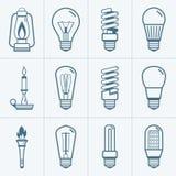 Различные установленные значки электрической лампочки также вектор иллюстрации притяжки corel Стоковые Изображения RF