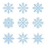 Различные установленные снежинки зимы Стоковое Изображение