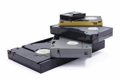 Различные форматы профессиональных магнитных лент для видеозаписи Стоковое фото RF