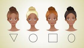 Различные формы стороны (Афро-американская версия) иллюстрация вектора