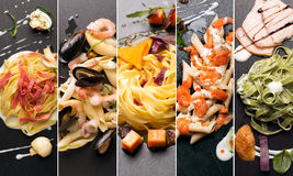 Различные фото итальянских макаронных изделий Стоковая Фотография