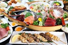 Различные японские блюда Стоковое Изображение