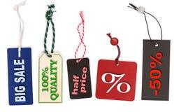 Различные ярлыки цены с текстом Стоковое Фото