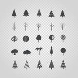 Различный вектор силуэта дерева установленный на прозрачное