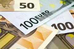 Различный конец-вверх банкнот евро Стоковые Изображения RF